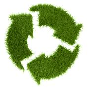 grassy recycle sign - stock illustration