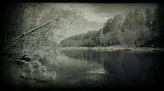 Calm river image. Vintage styled clip. 1080p. Stock Footage