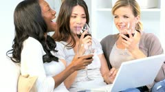 Casually Dressed Girlfriends Wireless Laptop Wine Home Sofa Stock Footage