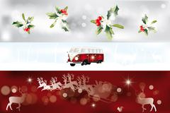 various christmas banner - stock illustration