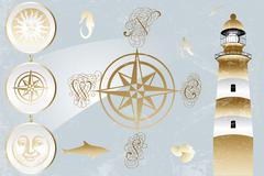 antique nautical design elements and lighthouse - stock illustration