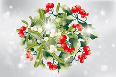 christmas bouquet of holly and mistletoe - stock illustration