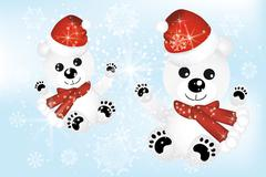 cute polar bears in snow - stock illustration