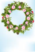 christmas wreath with decoration - stock illustration