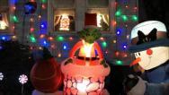 Christmas Grinch inflatable display Stock Footage