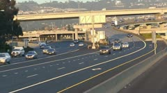 Traffic, freeway semi truck,interstate overpass Stock Footage