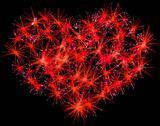 Fireworks heart shape for valentines day Stock Illustration