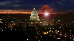 Nuclear Blast over Washington DC causing EMP (Electromagnetic Pulse) Blackout Stock Footage