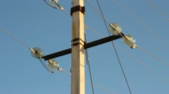 Low-voltage power line. Wires, insulators Stock Footage