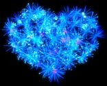 Valentines day blue fireworks heart shape Stock Illustration