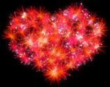 Valentines day red fireworks heart shape Stock Illustration