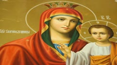"The icon of the Mother of God ""Quick to Hear."" Extract - stock footage"