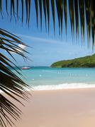 glorious beach at anse marcel on st martin - stock photo