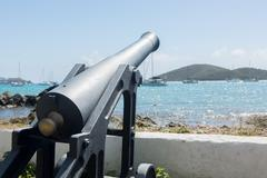 old cannon in charlotte amalie st thomas - stock photo