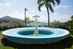 blue fountain overlooks charlotte amalie - stock photo