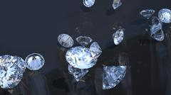 Stock Illustration of precious gems: group of diamonds rolling over