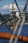 the wooden brig, lady washington, sails on lake washington  .. - stock photo