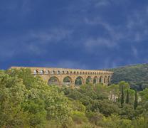 pont du gard roman aqueduct .. - stock photo