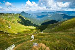 carpathian mountains landscape in ukraine - stock illustration