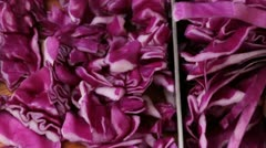 Cutting red cabbage - stock footage