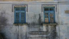 Old unoccupied house window in candarli, turkey Stock Photos