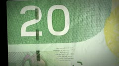 Canadian 20 dollar bill Stock Footage
