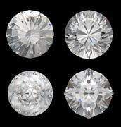 Top views of large diamonds on black Stock Illustration