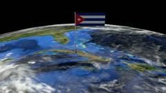 Cuban flag on pole on earth globe animation Stock Footage