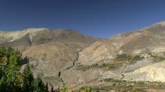 Pan across upper Annapurna Region, Himalayas, Nepal. Stock Footage