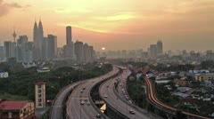 Traffic in kuala lumper with sunset,time lapse Stock Footage