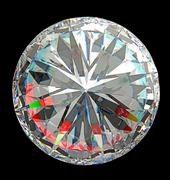 top view of large round diamond isolated - stock photo