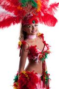 image of smiling young woman in festival costume - stock photo