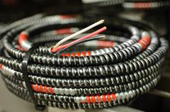 Coiled electrical wire Stock Photos