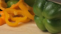 Stock Video Footage of Cutting a green pepper