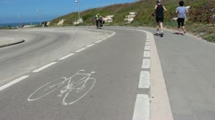 Bycicle route marked pavement Stock Footage
