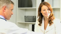 Medical Consultant Talking Office Manager Close Up Stock Footage