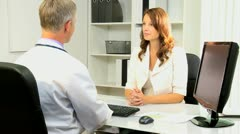 Female Banking Executive Meeting Medical Doctor Stock Footage