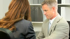 Businesswoman Meeting Financial Advisor Stock Footage