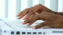 Hands African American Female Using Laptop Keyboard Stock Footage