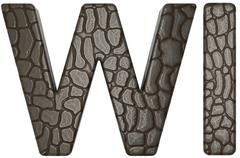 alligator skin font w and i capital letters - stock illustration