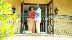 Retired African American Couple Dancing Vacation Balcony Stock Footage