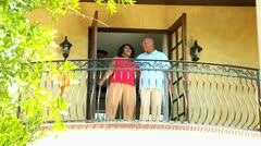 Retired African American Couple Vacation Balcony Stock Footage