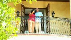 Ethnic Couple Enjoying View Balcony Luxury Home Stock Footage