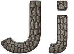 Stock Illustration of alligator skin font j lowercase and capital letters