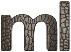 Alligator skin font m and l lowercase letters Stock Illustration
