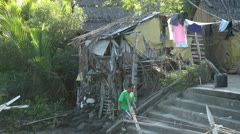 Poor people housing in the Philippines Stock Footage