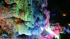 Close Guilin China famous Seven-Star Cave huge vast cavern rock formations Stock Footage