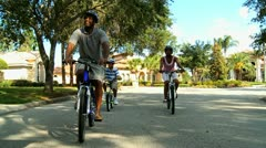 Family Cycling Fitness Stock Footage