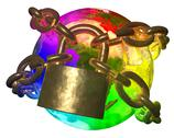 Stock Illustration of rainbow earth breaking golden chain - transformation of world