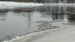 Closeup river bay water stream carry ice floe float in winter Stock Footage